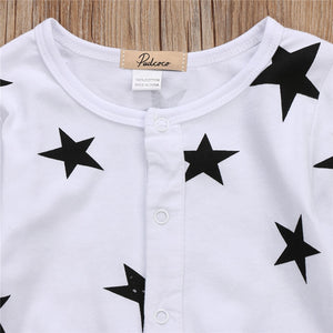 Black and White Star Print Romper