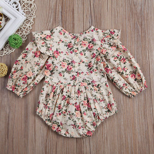 Vintage Inspired Floral Long Sleeve Romper