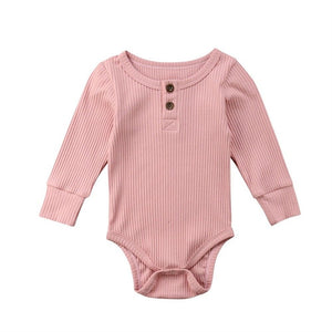 Ribbed Henley Long Sleeve Onesie