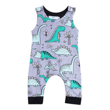 Load image into Gallery viewer, Grey Dinosaur Print Romper