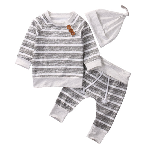 Grey and Cream Striped Top and Pants Set with Matching Hat