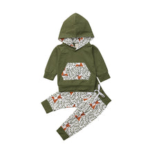 Load image into Gallery viewer, Fox Print Olive Hoodie & Pants Set