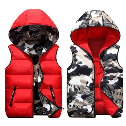 Reversible Camo Print Hooded Puffer Vest
