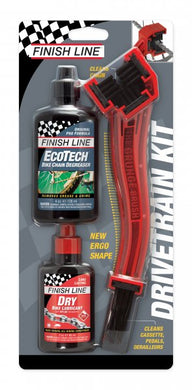 Finish Line Chain Cleaner Grunge Brush with 4oz Degreaser and 4oz Dry Lube