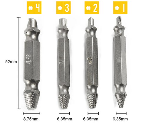 Screw Extractor Bolt Easy Out Set Kit Broken Damaged Tool Remove Stripped Hex Removal Remover