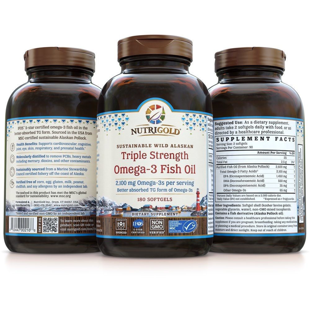 Triple Strength Omega-3 Fish Oil by NutriGold
