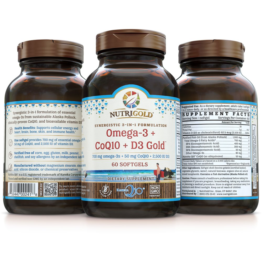 Omega-3 + CoQ10 + D3 Gold by NutriGold