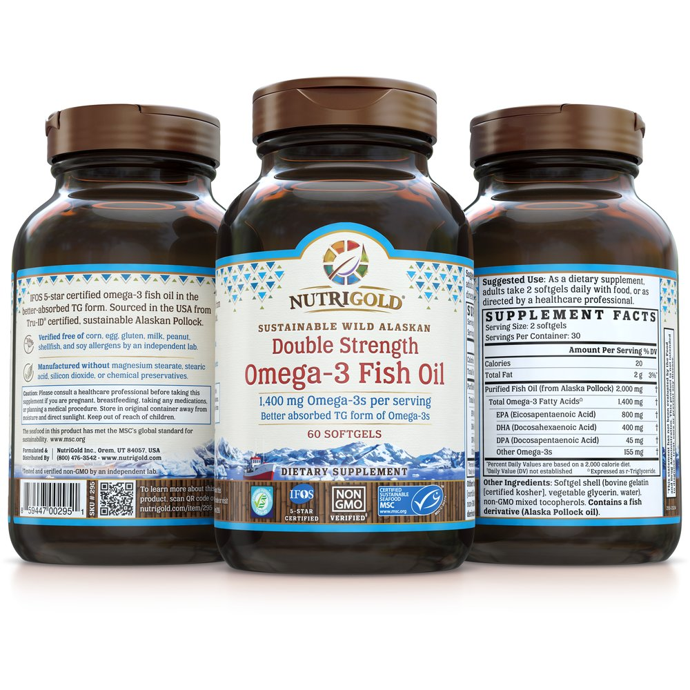 Double Strength Omega-3 Fish Oil by NutriGold