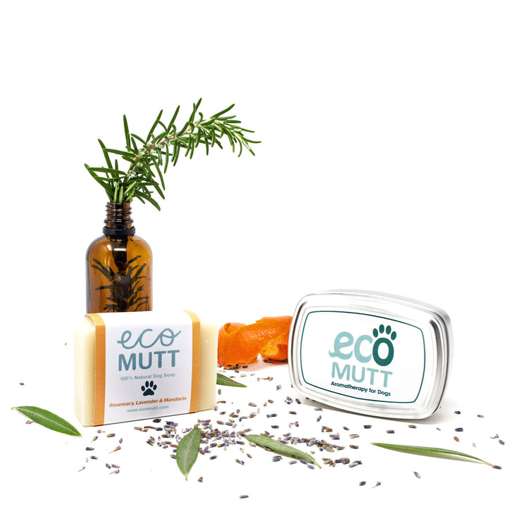 ECO MUTT Rosemary, Lavender & Mandarin DOG SHAMPOO BAR with Soap Tin