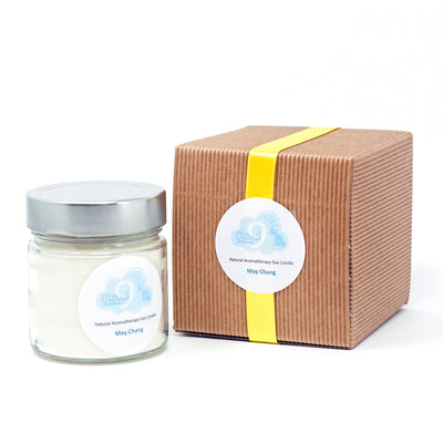 A hand poured aromatherapy soy candle with soy wax and May Chang essential oil. Perfect for people with asthma, allergies or intolerance to artificial perfumes. May Chang (litsea cubea) is a citrus aroma with uplifting properties
