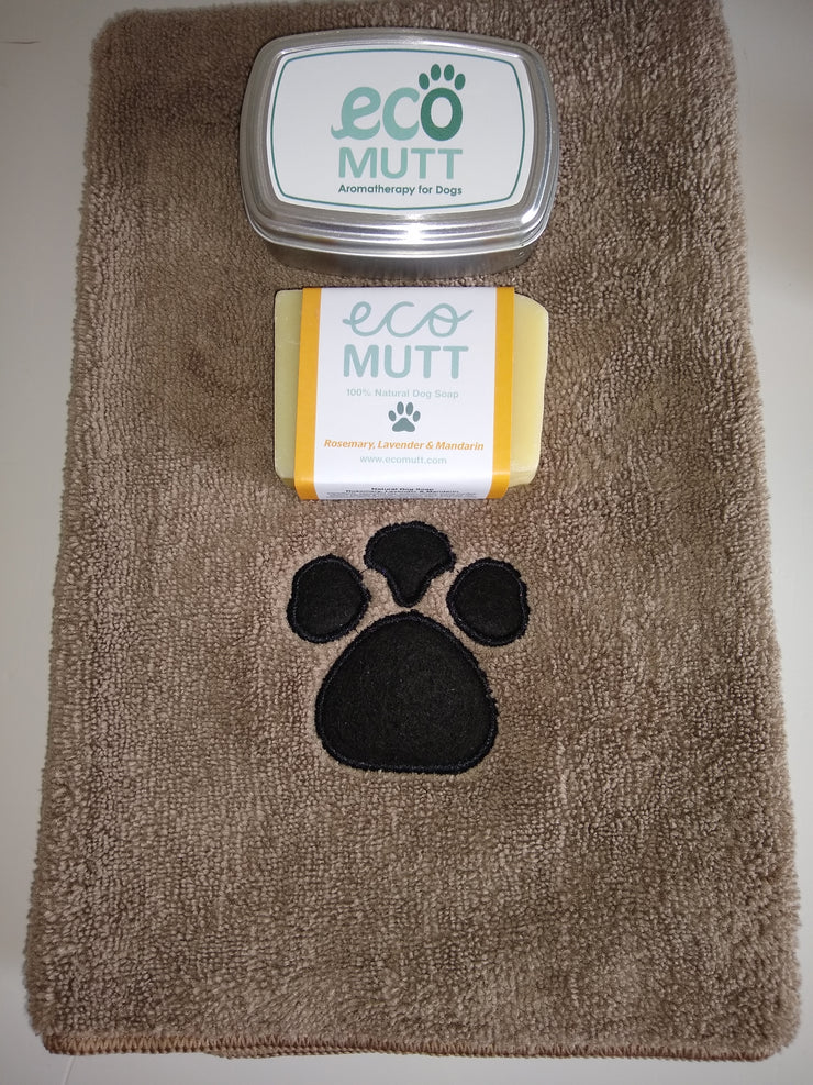 Dog Soap Bar, Soap Tin & Pet Towel - Rosemary, Lavender & Mandarin