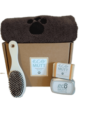 Eco Mutt doggie gift box with towe, brush and Eco Mutt Dog Shampoo Bar