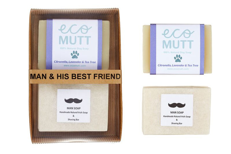 Man & His Best Friend Gift Pack: natural handmade soap duo for dog and owner. Aromatherapy handmade soaps using pure essential oils. The perfect gift for man and his dog! Cruelty Free, Vegan Friendly, Toxin Free.