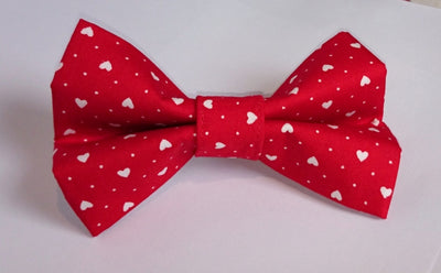 Red Mini Hearts Dog Bow Tie
