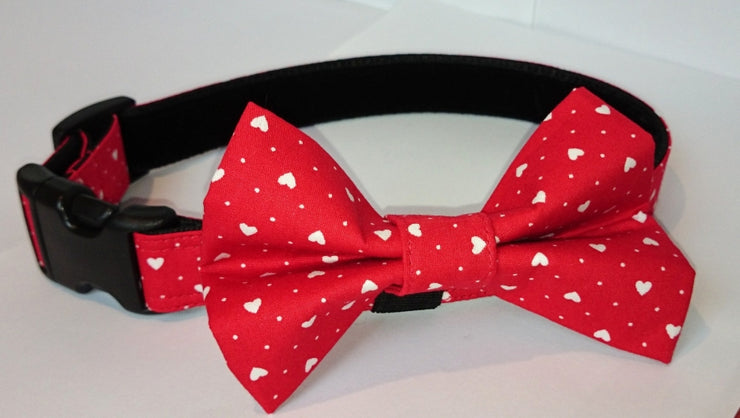 Red Mini Hearts Bow Tie
