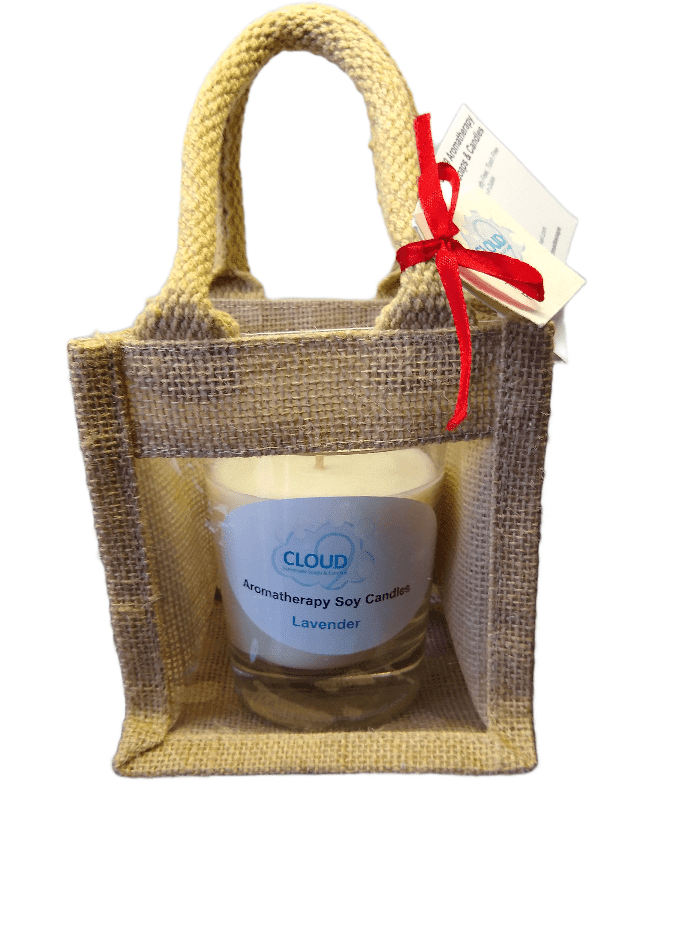 Aromatherapy Soy Candle in Jute Gift Bag - Rosemary & Lavender