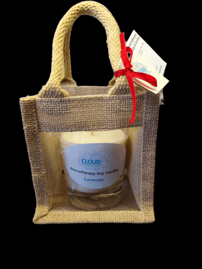 Aromatherapy Soy Candle in Jute Gift Bag - Winter Spice