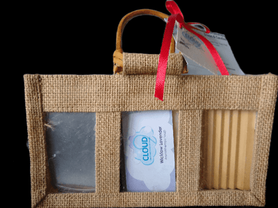 Cloud9 Aromatherapy Soap Gift Set with Soap Tin, Wooden Soap Dish and a Jute Gift Bag
