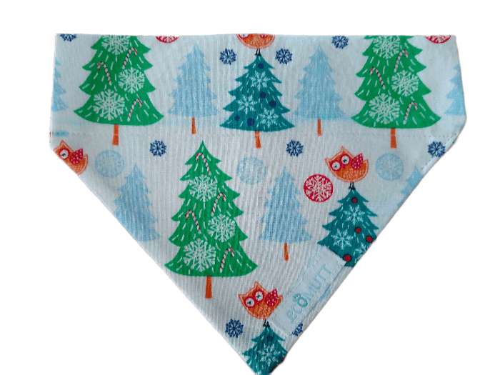 dog bandana with colour christmas trees and owls on white background