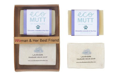 Woman and her best friend gift set. lavender scented handmade natural soap for owner and eco mutt aromatherapy natural dog shampoo bar. the perfect gift for owner and dog.