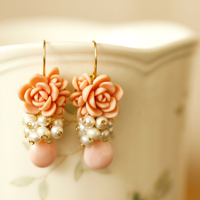 Succulent and Pearl Cluster Earrings Tutorial