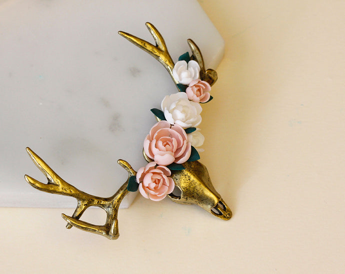 How to make an elk skull with peonies pendant