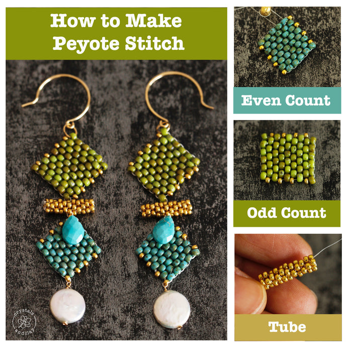 Peyote Stitch Basic - Learn Even Count, Odd Count and Tube in One Earring Design
