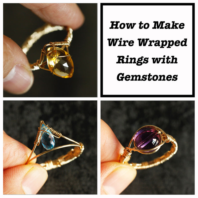 How to make wire wrapped rings for three different shape gemstones