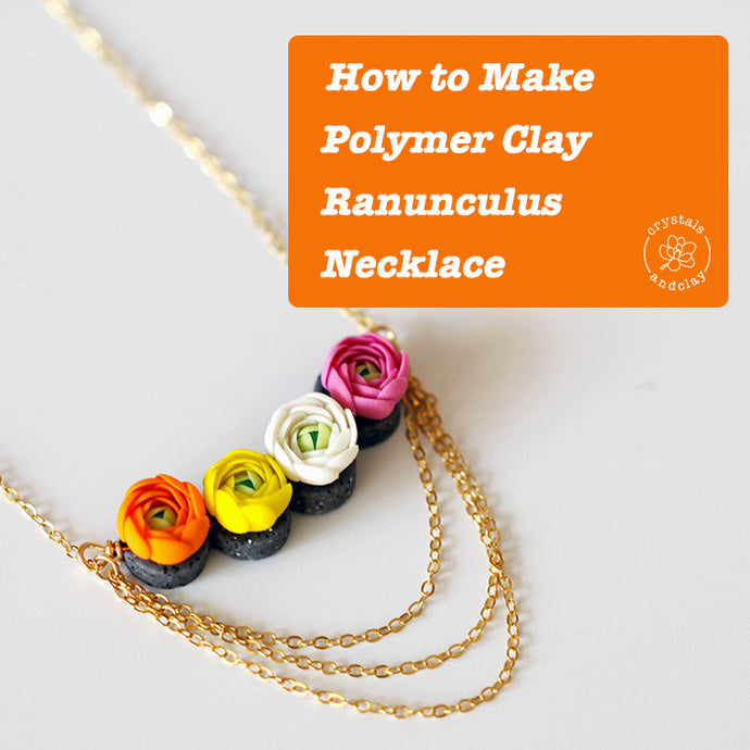 How to make polymer clay ranunculus flower necklace