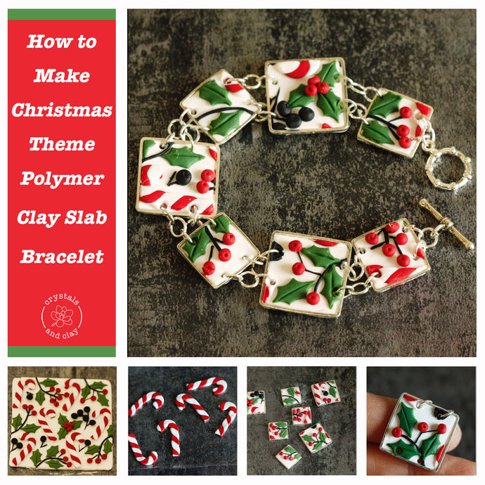 How to Make Christmas Theme Polymer Clay Slab Bracelet (Beginner Friendly)