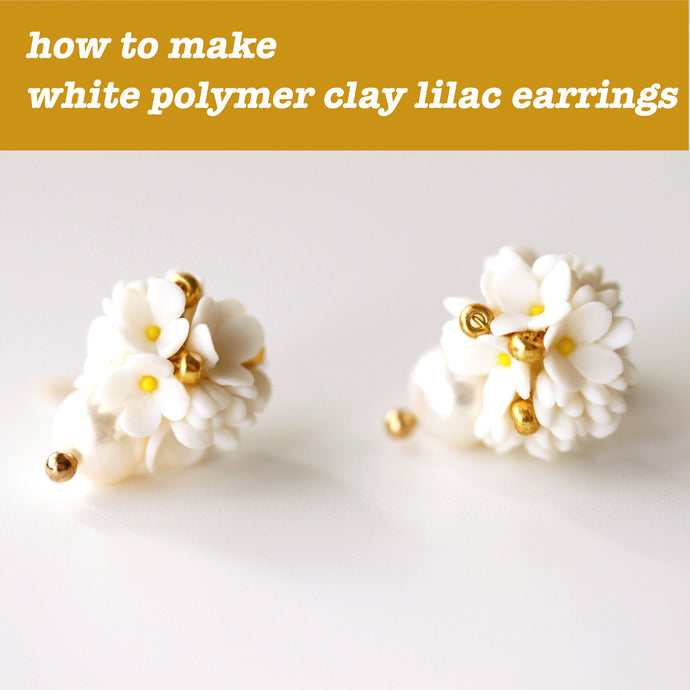SImple and sweet – how to make white lilac polymer clay earrings