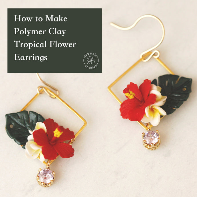 How to make polymer clay  tropical flower earrings
