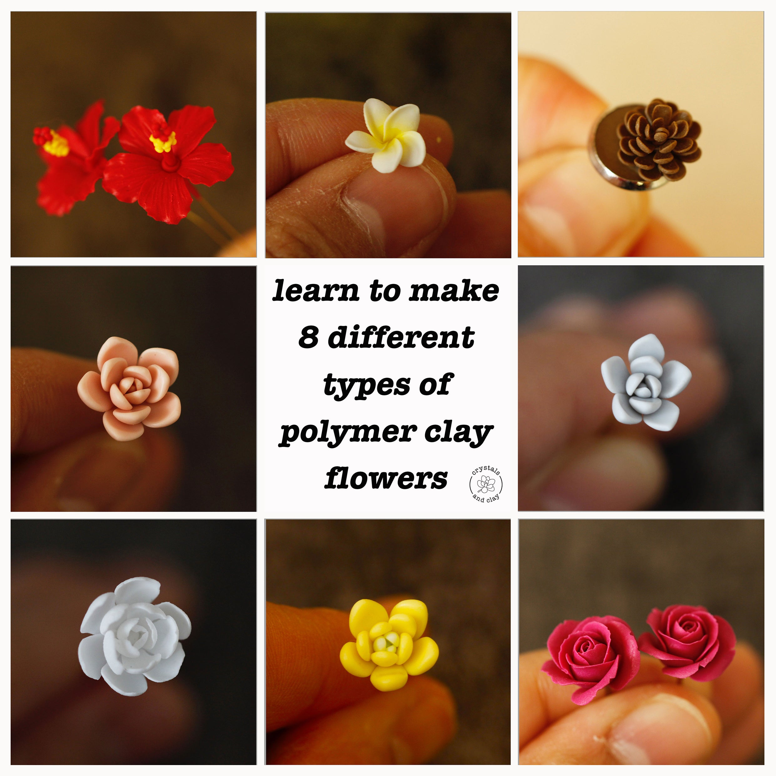 8 types of polymer clay flower tutorial