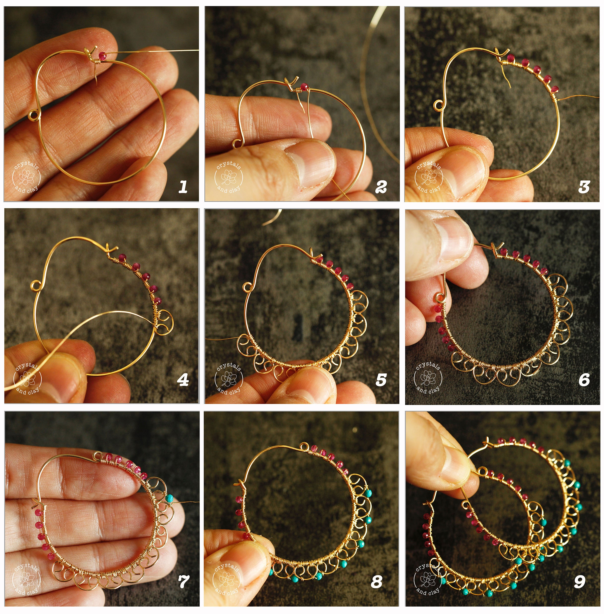 how to assemble wire wrapped hoop earrings