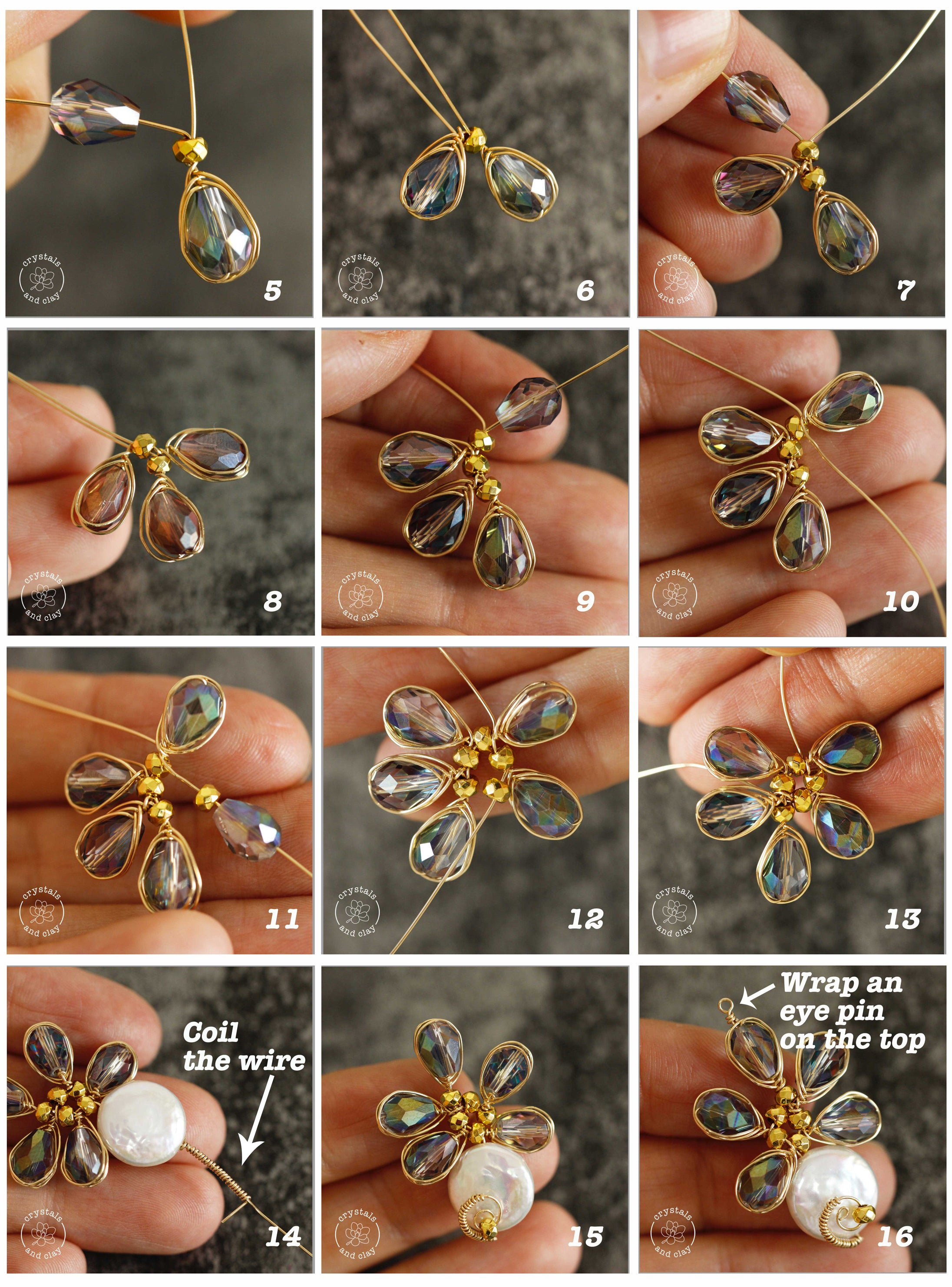 how to make wire wrapped flower earrings