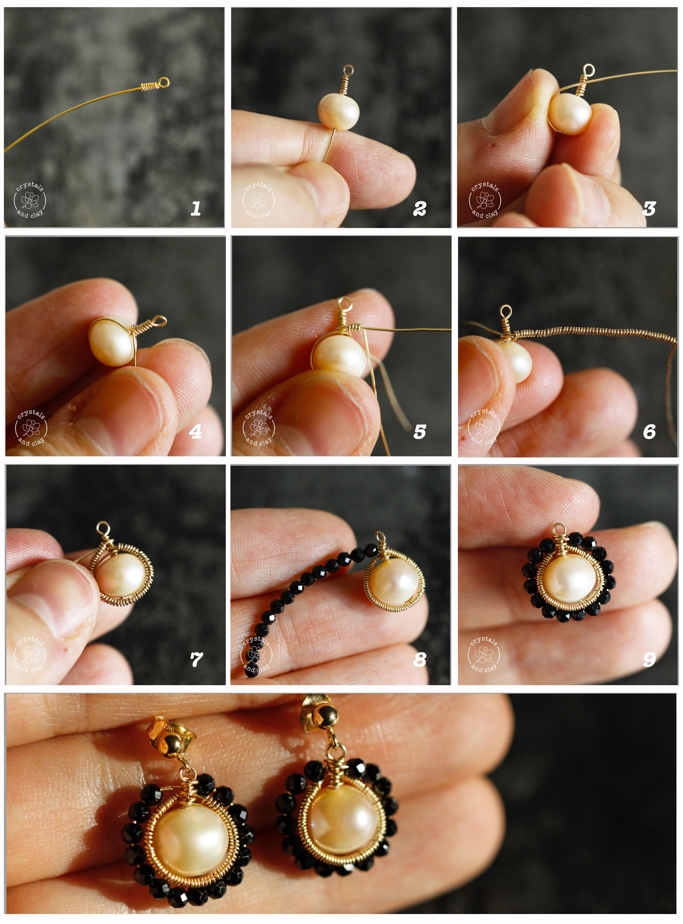 how to make a herringbone weave pearl earrings