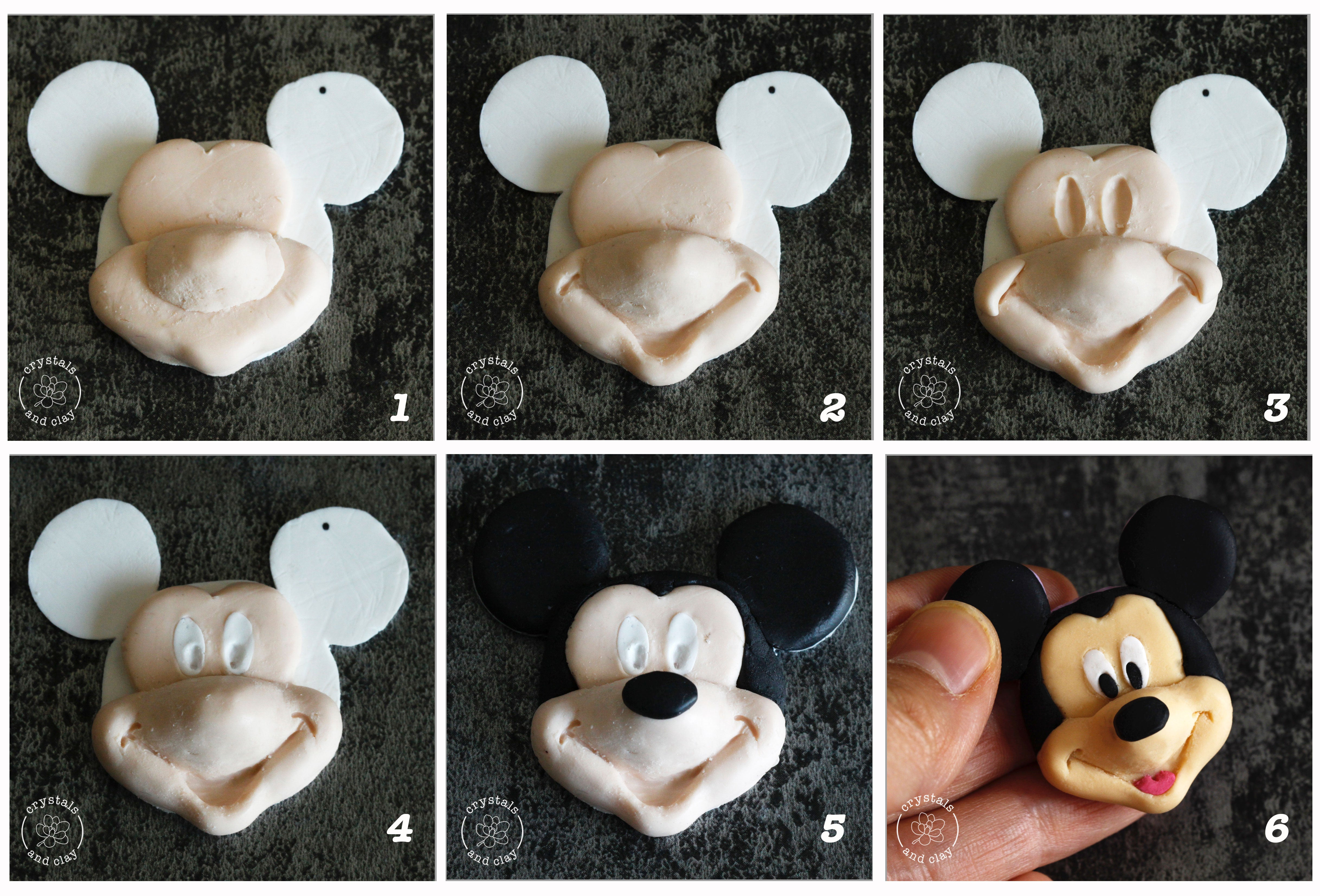 how to make polymer clay Mickey mouse