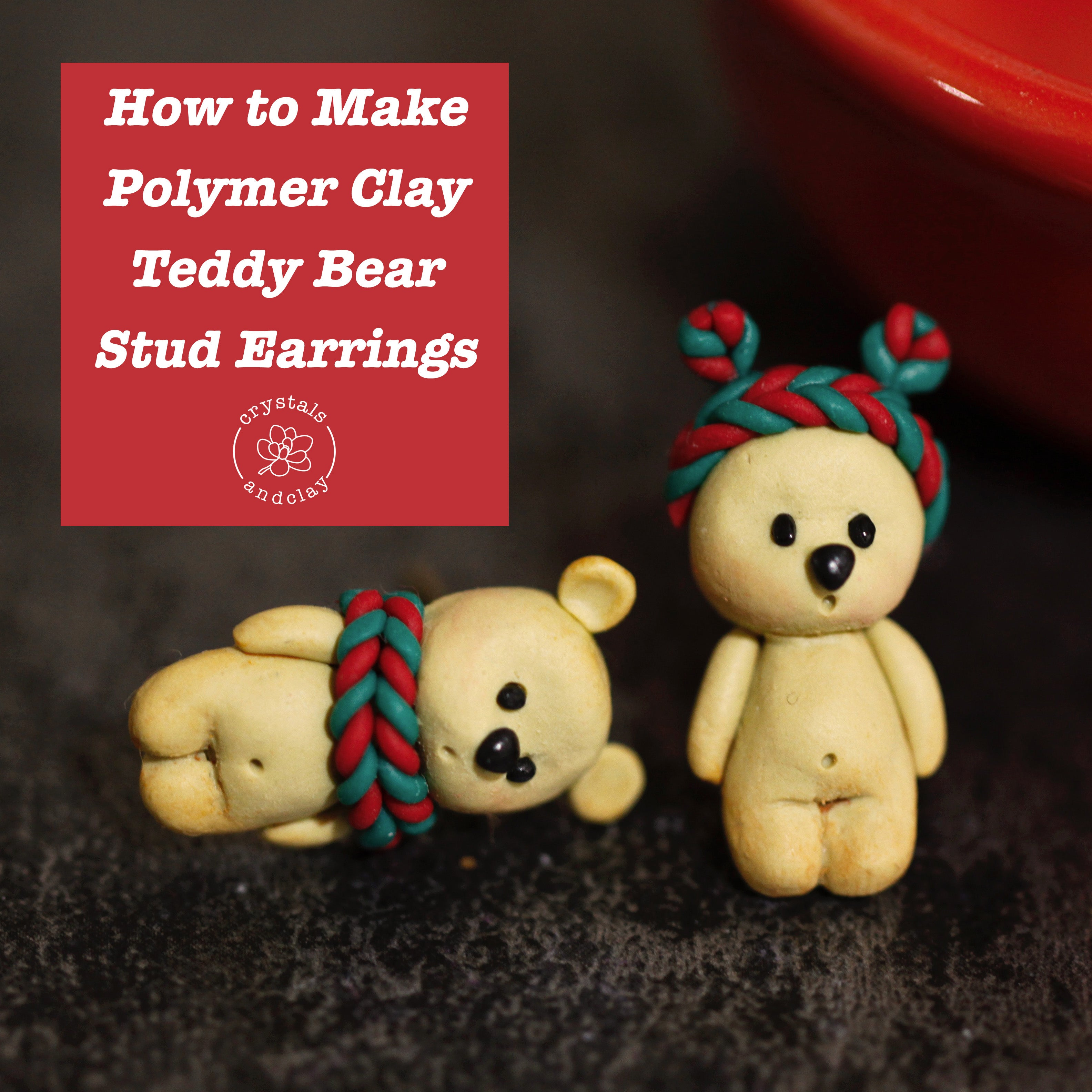 how to make polymer clay teddy bear earring stud