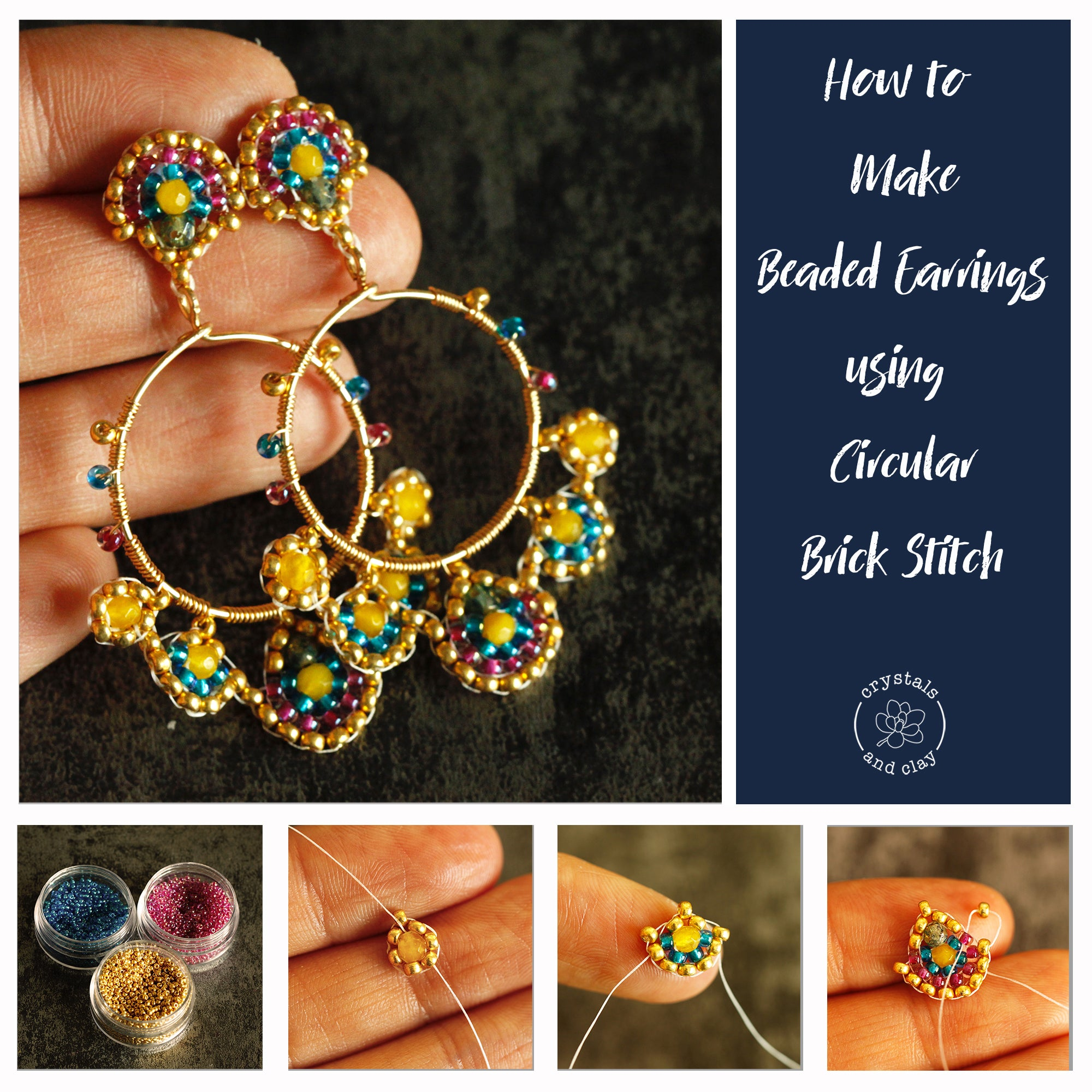 how to make beaded earring using circular brick stitch
