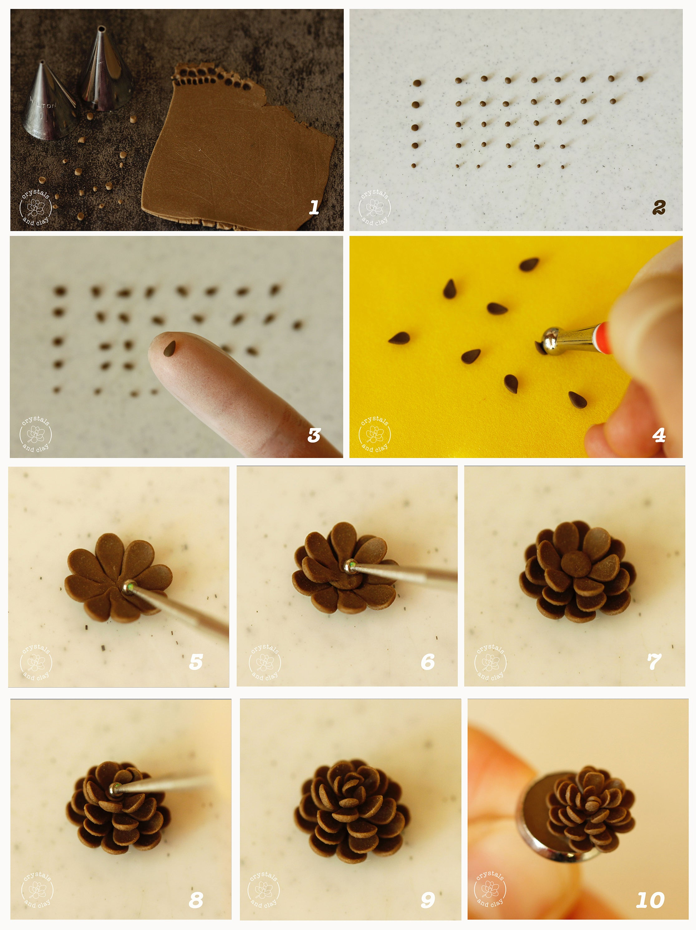 how to make polymer clay pinecone