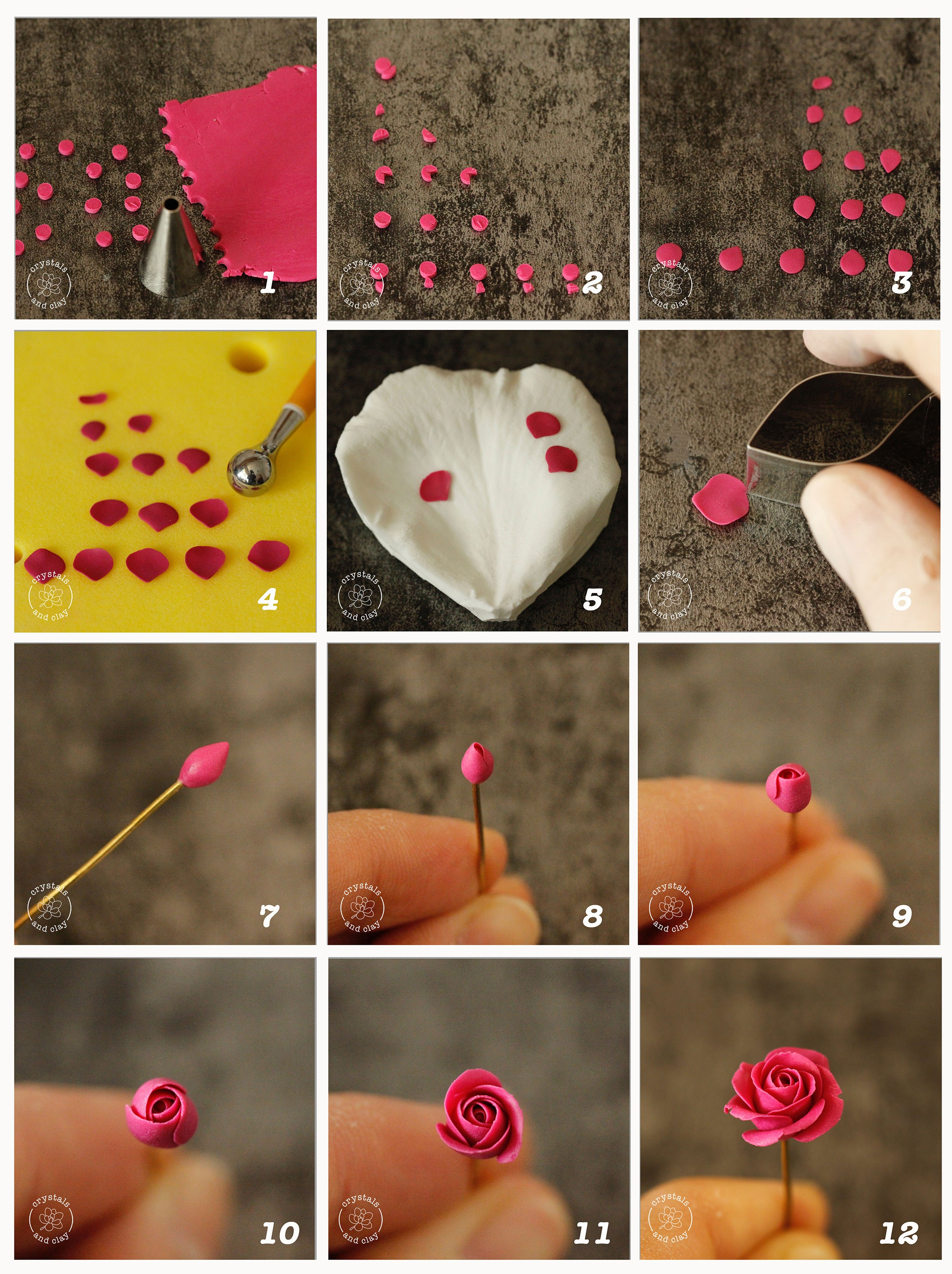 how to make polymer clay rose