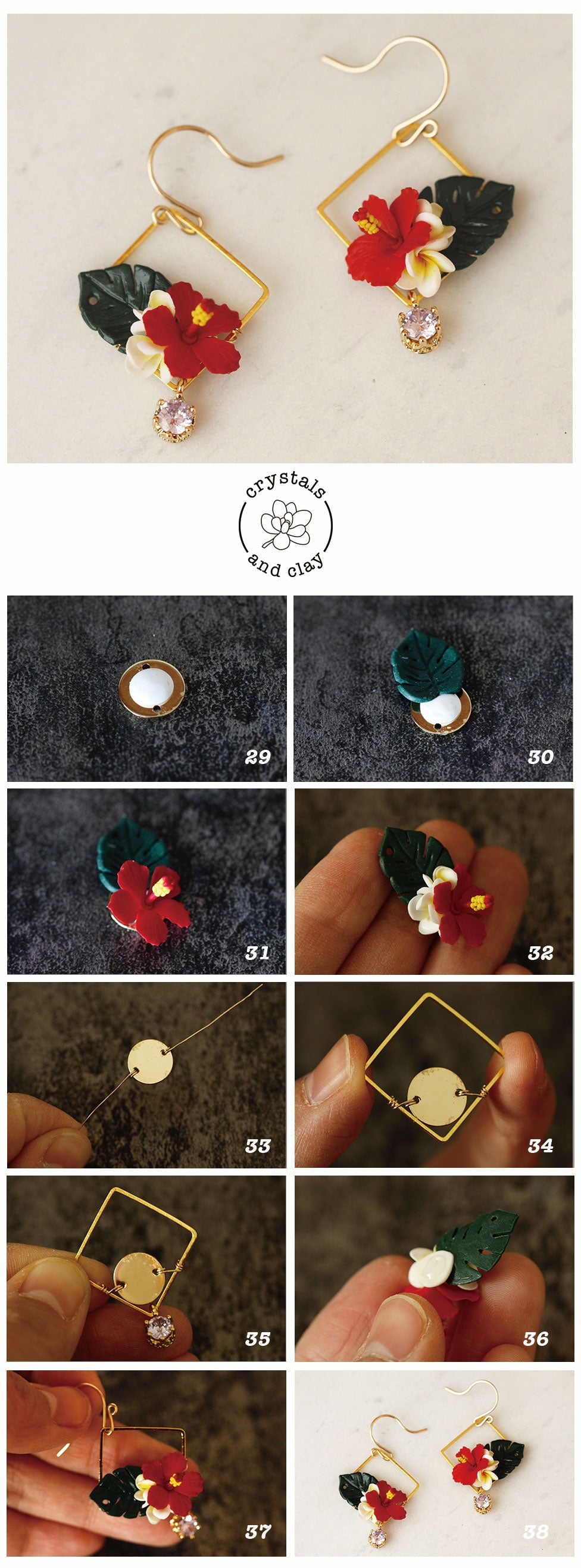 polymer clay tropical flower earrings tutorial