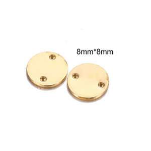 20Pcs 8/10/15mm Round Small Stamping Blank Connector With Two Holes (Gold/Silver)