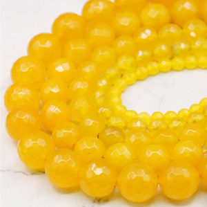 4/6/8/10/12mm 15 inch Strand Faceted Yellow Chalcedony Round Beads