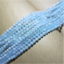 Load image into Gallery viewer, 4/6/8/10mm AA Aquamarine Blue Round Faceted Natural Stone Beads 15inch Strand