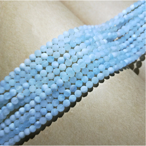 4/6/8/10mm AA Aquamarine Blue Round Faceted Natural Stone Beads 15inch Strand