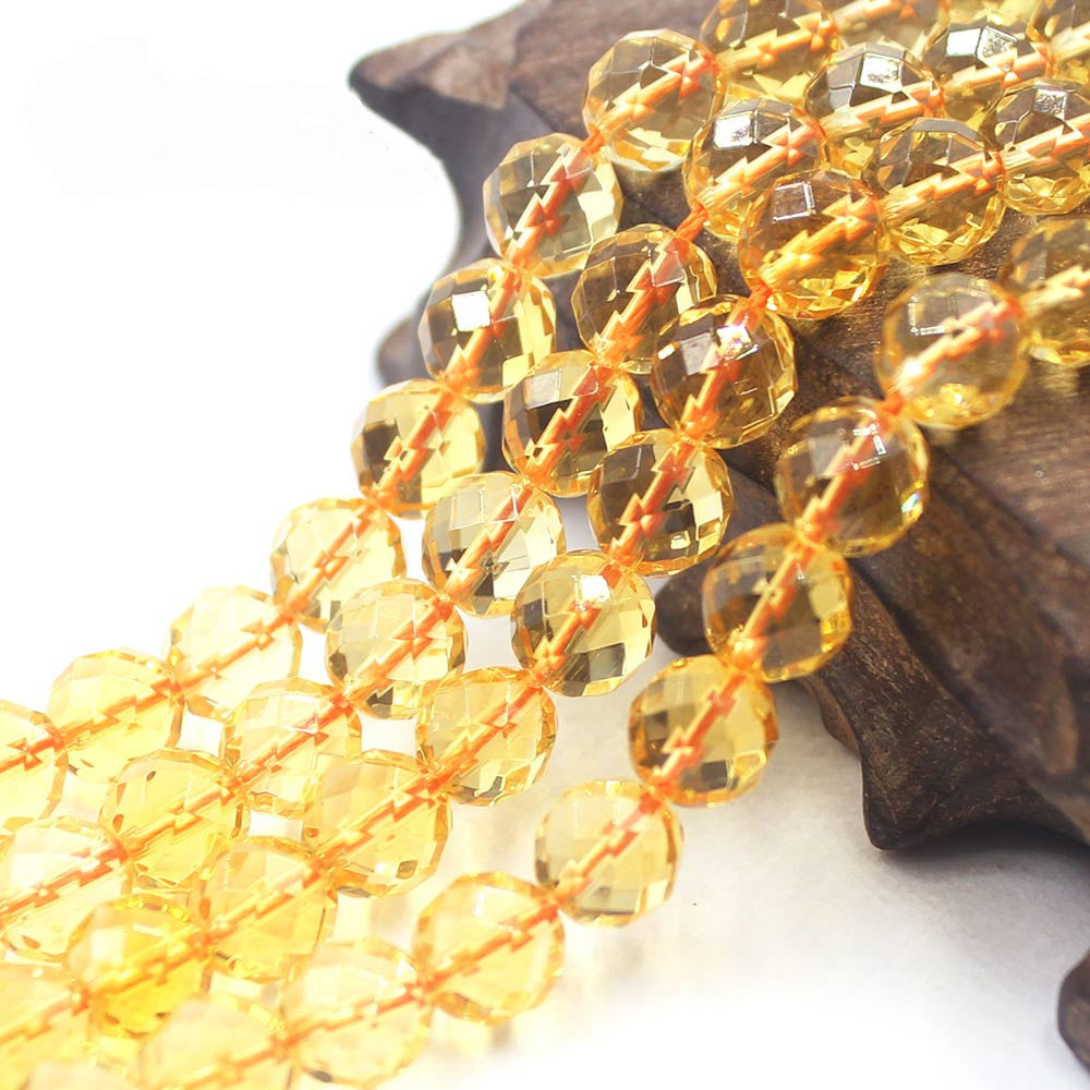 6/8/10mm Faceted Round Citrine Natural Gemstone Loose Beads Strand 15