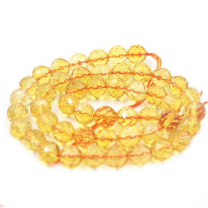 6/8/10mm Faceted Round Citrine Natural Gemstone Loose Beads Strand 15""