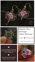 Load image into Gallery viewer, Video tutorial how to make wire wrapped earrings with polymer clay rose bouquet