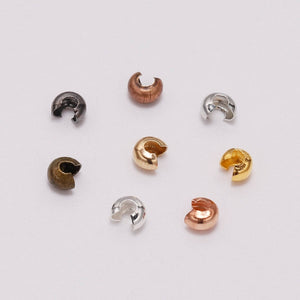 3/4/5 mm 100 pieces Copper Crimp Beads Round Covers (8 Colors)